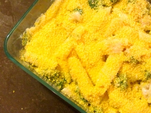baking dish with breadcrumbs