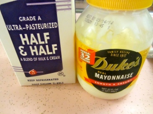 half & half, mayo
